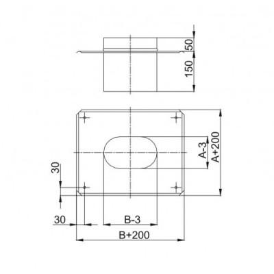Kolano owalne 45º krótki bok - 100x220