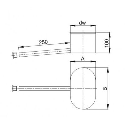 Kolano owalne 90º krótki bok - 120x180