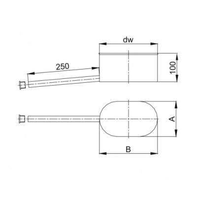 Kolano owalne 45º dłuższy bok - 120x200