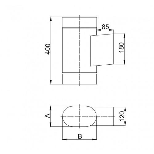 Kolano owalne 90º dłuższy bok - 120x240