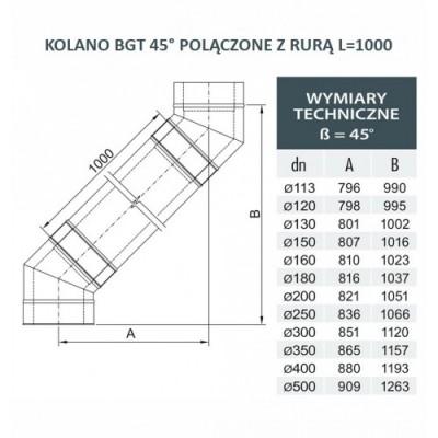 Kolano Turbo fi 60 / 93° z podporą