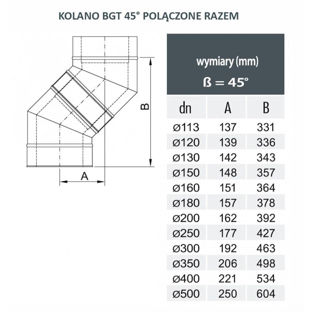 kolanko izolowane 45 stopni fi 200/260 Dinak