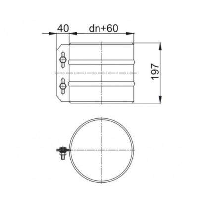 Rura kontrolna 300mm fi 130/190 izolowana kwasoodporna Dinak