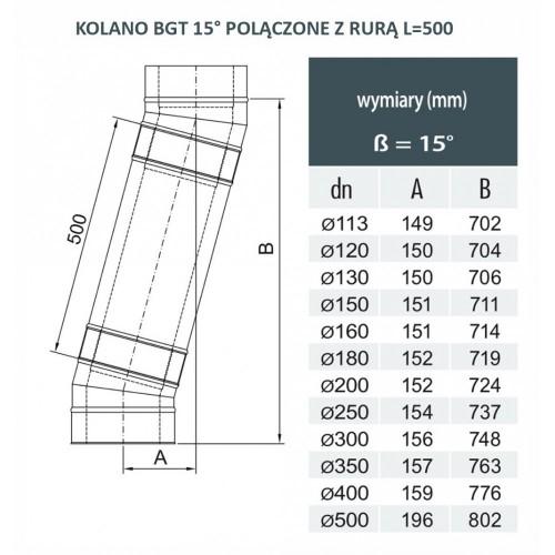 Wyjście poziome izolowane fi 180/240 Dinak
