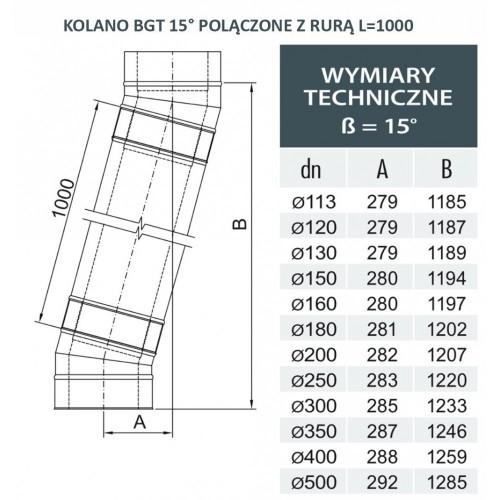 Wyjście poziome izolowane fi 200/260 Dinak