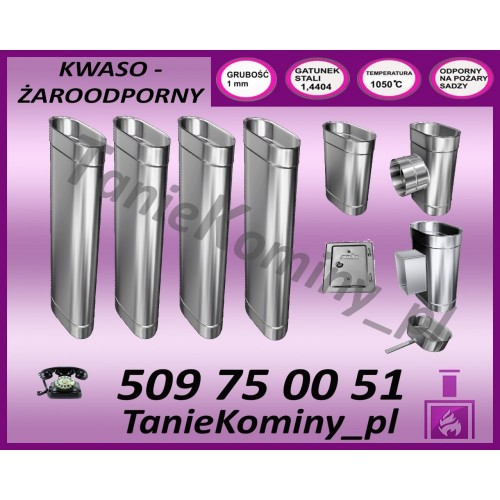 PRZEDŁUŻENIE KOMINA DWUŚCIENNE FI 160/220 0,5M MK ŻARY PREMIUM