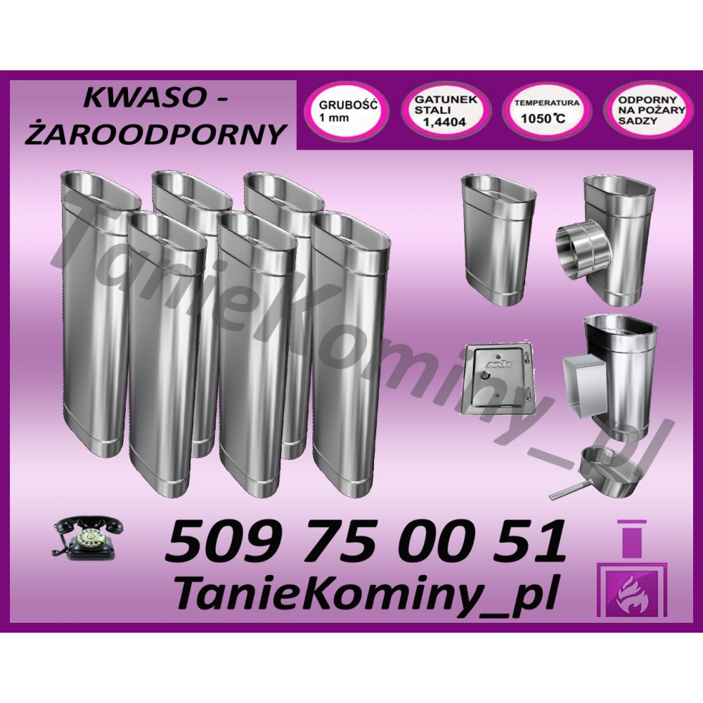PRZEDŁUŻENIE KOMINA DWUŚCIENNE FI 200/260 1,0M MK ŻARY PREMIUM