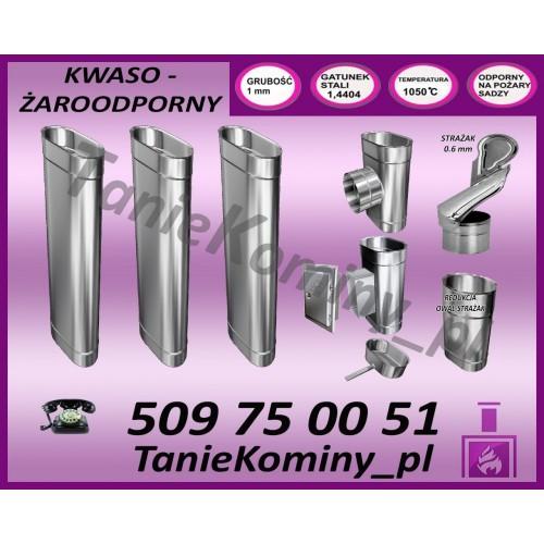 PAKIET 4 m KOMIN OWALNY 100x160 + STRAŻAK kwaso-żaroodporny