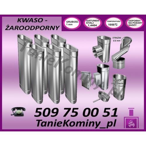 PAKIET 7 m KOMIN OWALNY 100x160 + STRAŻAK kwaso-żaroodporny
