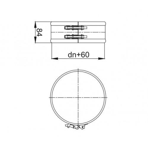 Obejma spinająca wąska KBT Ø 450 RURY IZOLOWANEJ (RDZEŃ Ø 450 / PŁASZCZ Ø 510)