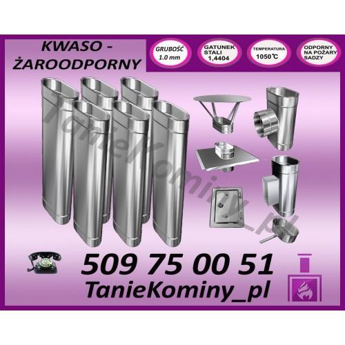 PAKIET 6.5 m KOMIN OWALNY 100x160 kwaso-żaroodporny