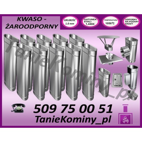 PAKIET 11 m KOMIN OWALNY 100x160 kwaso-żaroodporny