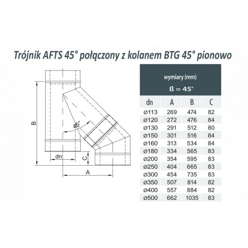 Trójnik dwuścienny 45° Ø 400