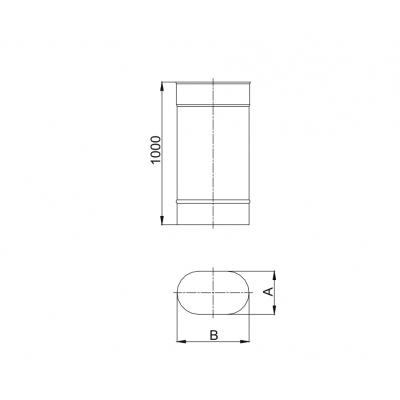 Rura owalne 120x200 L - 1000 mm