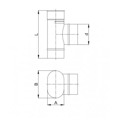 Trójnik owalny 90º 120x240 wyjście z szerszej strony