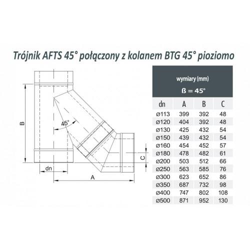 TRÓJNIK DWUŚCIENNY IZOLOWANY AFTS 45° rdzeń Ø 80 płaszcz Ø 110
