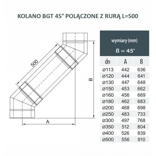 Rura dwuścienna Ø 130 L - 500 mm