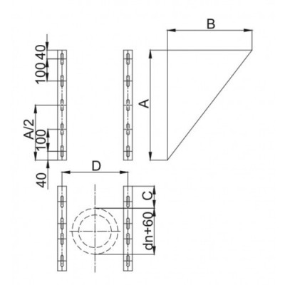 Wspornik trójkątne komina dwuściennego WKT / W1 Ø80 (komplet 2 szt.)