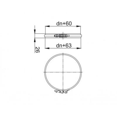 Obejma spinająca wąska KBT Ø 300 RURY IZOLOWANEJ (RDZEŃ Ø 300 / PŁASZCZ Ø 360)