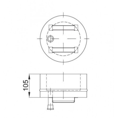 ODSKRAPLACZ - DEKEL DWUŚCIENNY IZOLOWANY DS rdzeń Ø 130 płaszcz Ø 190