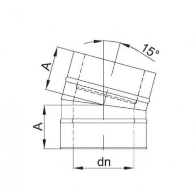Kolano dwuścienne 15º Ø 113
