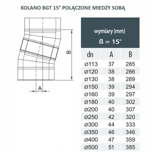 Kolano dwuścienne 15º Ø 450