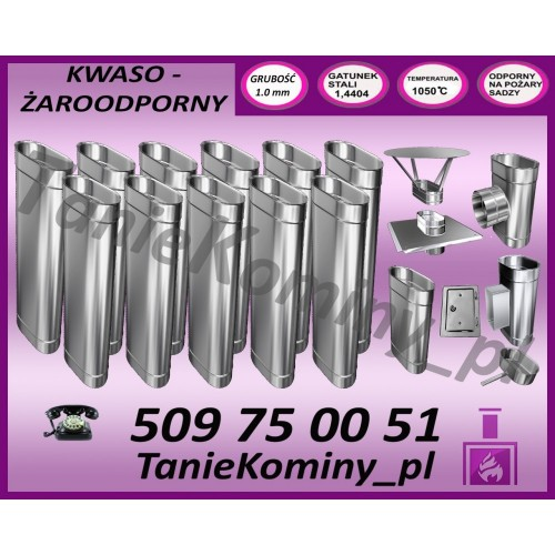 PAKIET 12 m KOMIN OWALNY 100x160 kwaso-żaroodporny